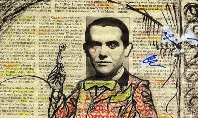 Collage amb el retrat del poeta granadí dibuixat i enganxat sobre les pàgines d'un diari