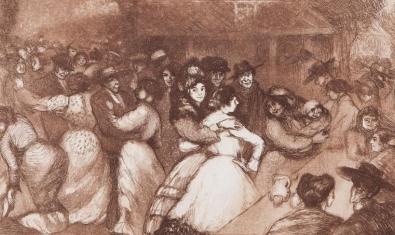 Grabado de Ricard Canals del 1900 titulado Fiesta popular