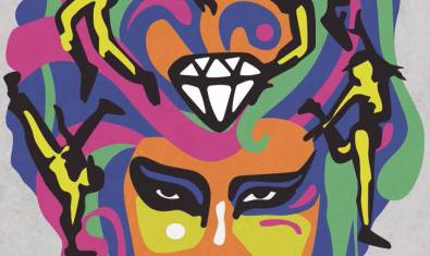 Fragmento del cartel de este año, un dibujo que muestra la cabeza de una mujer con un gran diamante