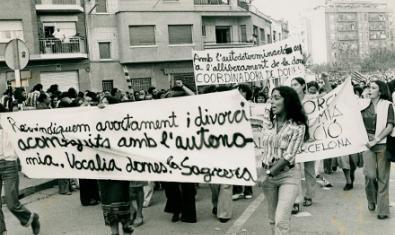 Manifestació feminista en els anys de la Transició