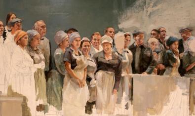 Una de les pintures de Sacris que mostra un assaig al teatre de la Rambla