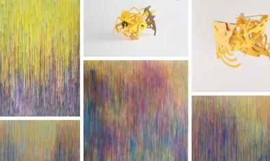 Un collage amb diverses obres exposades de tots dos autors entre les quals escultures que mostren l'estructura de grans ciutats i paisatges abstractes