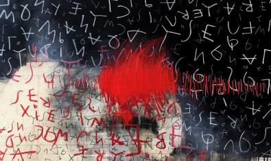Una de las obras de la autora que muestra una superficie negra llena de garabatos y con manchas rojas