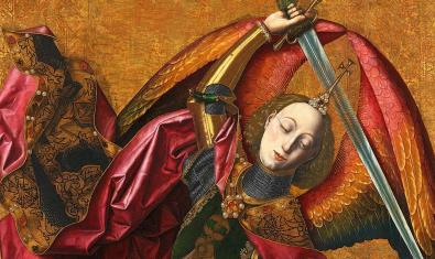 Detall de la pintura de Bermejo 'Sant Miquel triomfant sobre el dimoni amb el donant Antoni Joan'