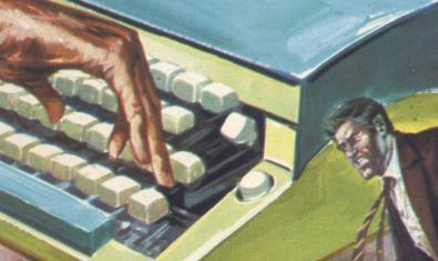 Una de las portadas de los libros objeto de la exposición muestra el dibujo de una máquina de escribir y la figura de un hombre al lado