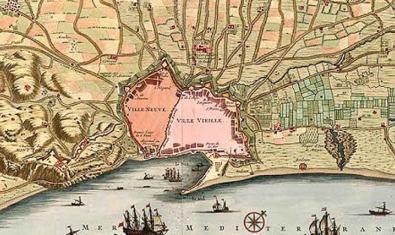Un mapa antiguo de Barcelona marca el recorrido de las rieras de la ciudad