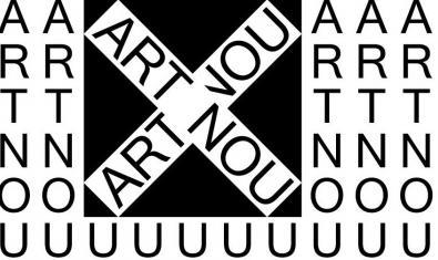 Un cartel gráfico que juega con las letras de las palabras Art y Nou anuncia este programa expositivo