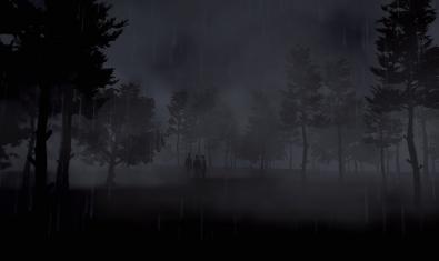 Una de las imágenes del videojuego muestra unos personajes en un parque o un bosque entre la oscuridad