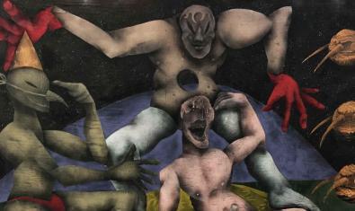 Una de las obras del artista que se pueden ver en la exposición y que muestra a tres personajes antropomórficos de rostros deformados mientras se ríen