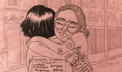 Cartel del festival con el dibujo de dos chicas que se abrazan