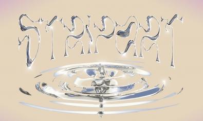 Una imatge promocional mostra el nom del festival com si estigués escrit en un material líquid que degotés sobre una superfície d'aigua