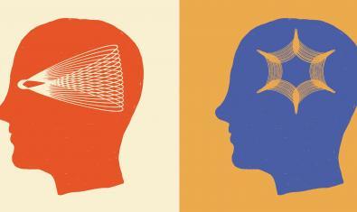 Dos siluetes de caps humans amb figures geomètriques a l'interior al cartell que anuncia l'activitat