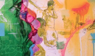 Una de les obres de l'artista mostra un rostre de nen en primer pla i uns nois jugant a pilota al fons