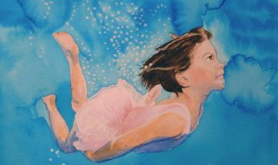 Un cuadro de la artista Natàlia Fürst que muestra a una niña nadando bajo el agua