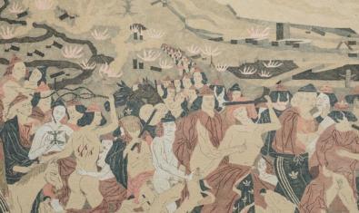 Una de las obras del artista que muestra a una serie de personajes en un paisaje que recuerda las pinturas medievales