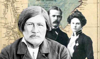 Collage con un mapa de Sudamérica y siluetas de fotos antiguas de personas relacionadas con la historia de la explotación de los recursos del continente