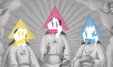 Un collage amb una imatge religiosa antiga pintada amb colors serveix d'imatge a l'espectacle