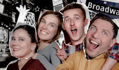 Un fotomontaje muestra las caras de los protagonistas en un paisaje de Broadway en Nueva York