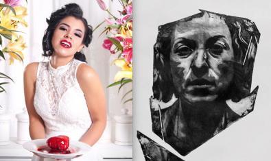 Un collage con una fotografía llena de color y de aspecto teatral de Toño Saldaña y uno de los aguafuertes de tonos oscuros de Manuel Solís