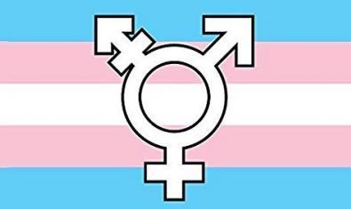Una combinación de los símbolos masculino y femenino sobre unas franjas de colores en el cartel que anuncia el espectáculo