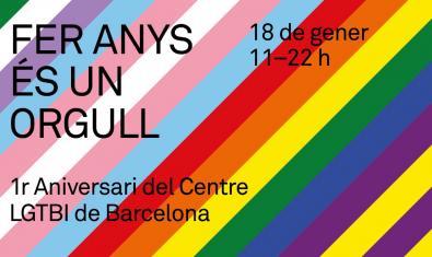 Cartell 1r aniversari del Centre LGTBI de Barcelona