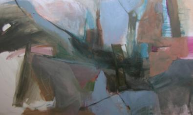Una de las obras abstractas de la autora que se pueden ver en la exposición