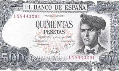 Bitllet de 500 pessetes amb el rostre de Verdaguer emès l'any 1971