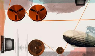 El cartel de este año del festival muestra una fantasía con cintas magnéticas de audio y un dirigible volando por el cielo