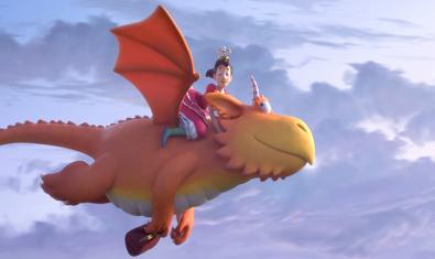 En Zog aprèn a volar amb la inestimable ajuda de la princesa.