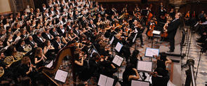 The UB orchestra and choir in action