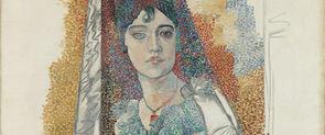 'Dona amb mantellina', obra present a l'exposició '1917. Picasso a Barcelona'