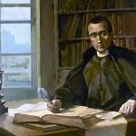 A la dreta, Jaume Balmes, aquarel•la de Francesc Fonollosa realitzada a partir d'un oli de Pere Borrell.