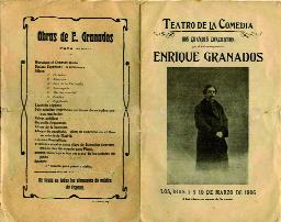 Programa de mano de dos recitales que Granados dio en el Teatro de la Comedia de Barcelona los días 7 y 10 de marzo de 1906.