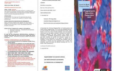 Activitats  Casal de Barri Diagonal Mar setembre - desembre 2020, places limitades.
