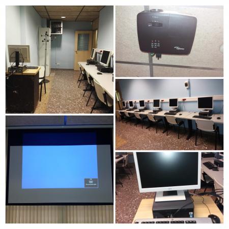 Espai de lloguer, projector, sala, ordinadors