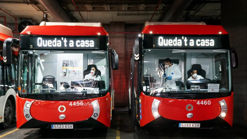 Buses allocated for transporting patients waiting to leave the Horta bus depot