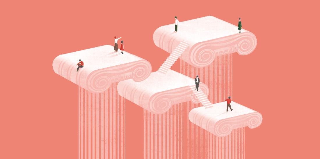 Il·lustració © Ana Yael Zareceansky. Quatre columnes amb capitells d'estil jònic de diferents alçades amb escales entre la part superior d'uns i altres. Sobre les columnes i en les escales diverses persones es miren, saluden o caminen.