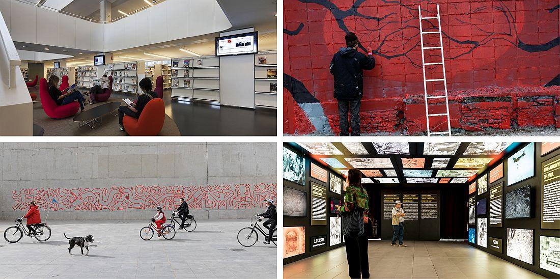A dalt, interior de la Biblioteca Agustí Centelles i un artista pinta un grafitti en una paret. A sota, grup de persones passejant en bicicleta davant del mural sobre la SIDA de Keith Haring a l'exterior del MACBA i una dona mirant una exposició.
