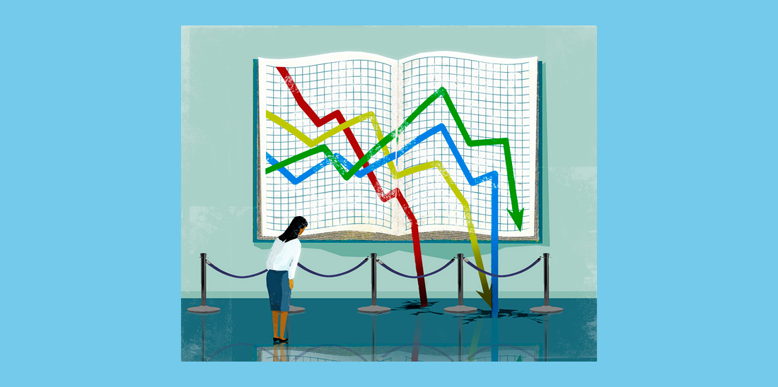 Il·lustració © Eva Vázquez. Una persona mira un quadre que representa un llibre de comptabilitat. El quadre mostra gràfics descendents que surten del llibre i foraden el terra.