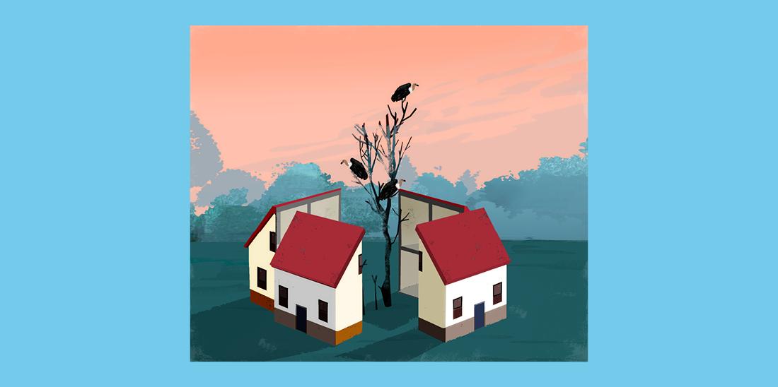 Il·lustració © Eva Vázquez. Una casa divida en quatre troços com si fos un pastís i, al mig, hi creix un arbre ple de voltors.