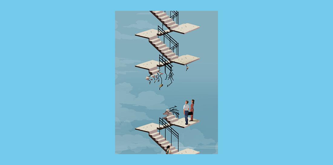Il·lustració © Eva Vázquez. Diverses persones pugen les escales d'un edifici i no poden continuar perquè un tram d'escales entre dues plantes està derruït.