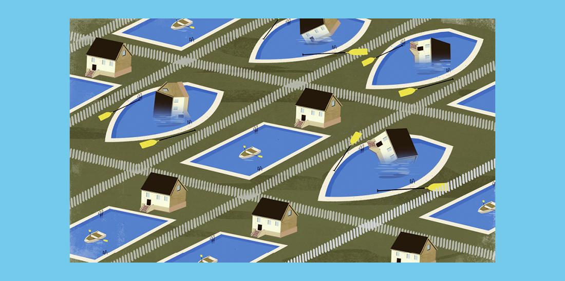 Il·lustració © Eva Vázquez. Barri de tipus residencial típic dels Estats Units. Hi ha algunes cases ben construïdes amb piscina i d'altres que es troben dins de la piscina mig enfonsades.