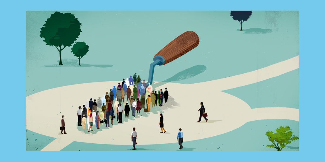 Il·lustració © Eva Vázquez. Un conjunt de persones formen la base d'una paleta, eina de guixaire que serveix per posar ciment.