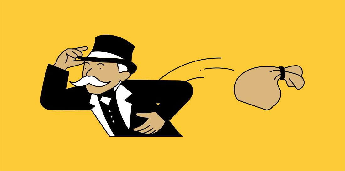 Il·lustració d'un senyor i una bossa, sembla la figura del Monopoly