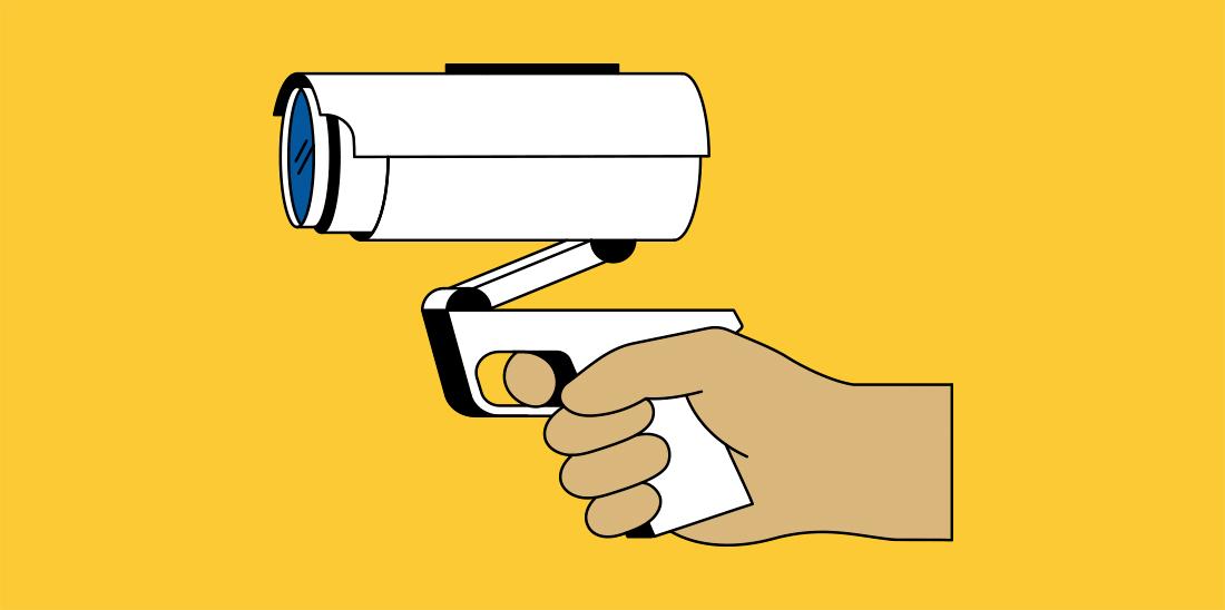 Il·lustració d'una pistola que enlloc de canó per les bales té un objectiu de càmara de vigilància