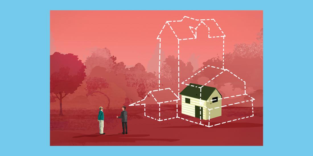 Il·lustració © Eva Vázquez. Dues persones parlant, una sembla que li explica a l'altra com és la casa dels seus somnis: més gran que la seva.