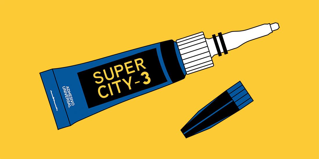 """Il·lustració d'un tub d'adhesiu amb etiqueta """"Super city-3"""""""