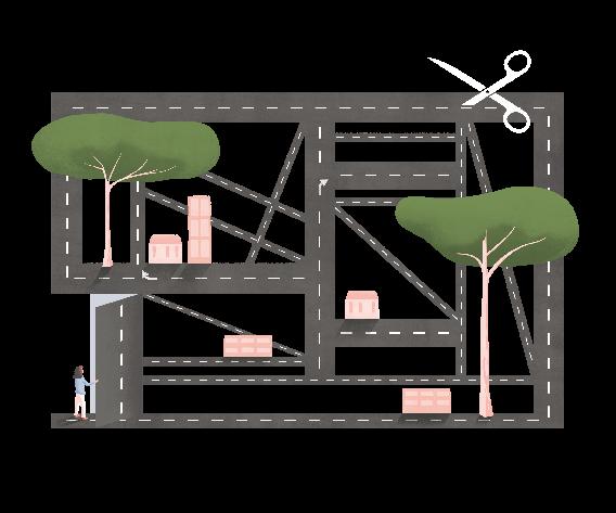 Il·lustració © Ana Yael Zareceansky. Un mapa de carreteres en forma rectangular. A la part superior unes tisores gegants tallen una de les carreteres. Hi ha dos arbres grans, cases disperses i una persona en l'extrem inferior esquerre que obre una porta.