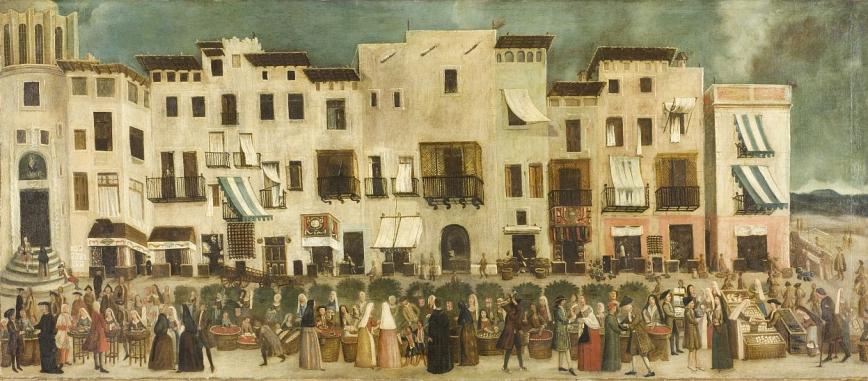 La plaça Major del Born, en una pintura anònima datada al voltant de 1775. © MUHBA