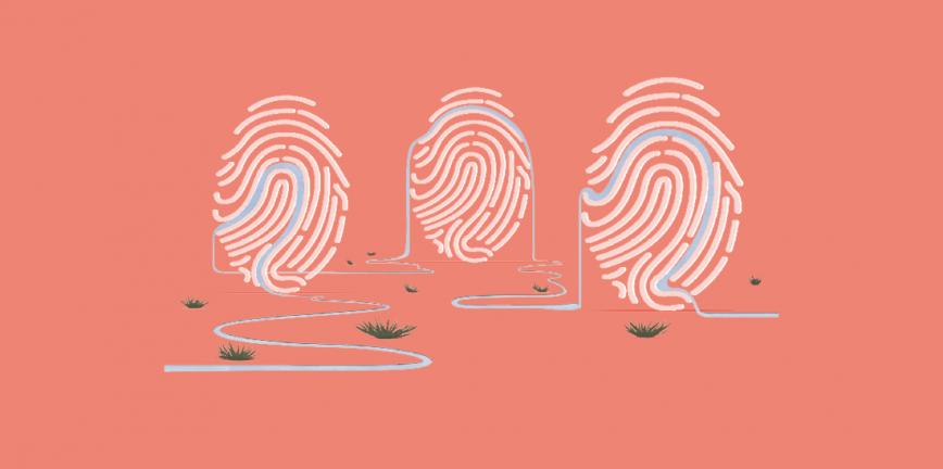 Il·lustració © Ana Yael Zareceansky. Dibuix de tres empremtes dactilars. Entre les línies de les empremtes hi passa un fil que sembla un camí que les uneix.